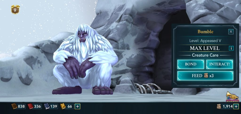 """Pictured is a yeti named Bumble in """"Hogwarts Mystery""""."""