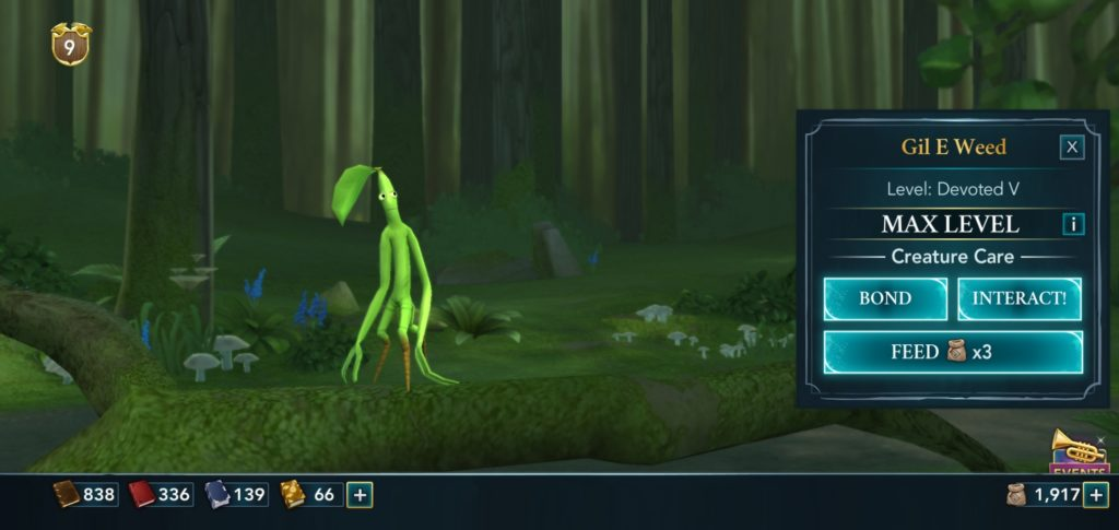"""Pictured is a Bowtruckle named Gil E. Weed in """"Hogwarts Mystery""""."""