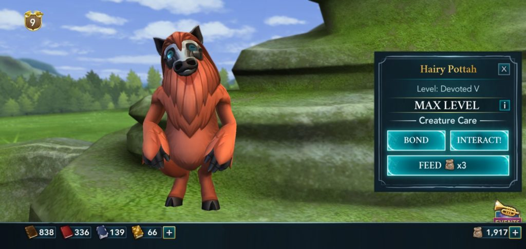 """Pictured is a porlock named Hairy Pottah in """"Hogwarts Mystery""""."""