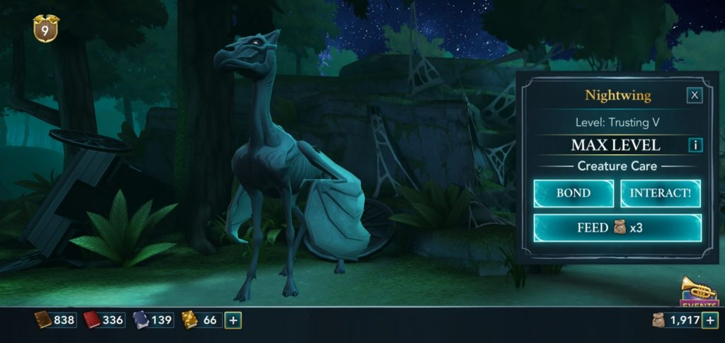 """Pictured is a Thestral named Nightwing in """"Hogwarts Mystery""""."""