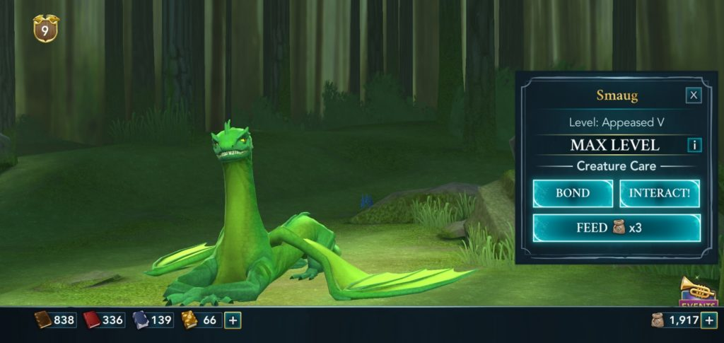 """Pictured is a Common Welsh Green named Smaug in """"Hogwarts Mystery""""."""