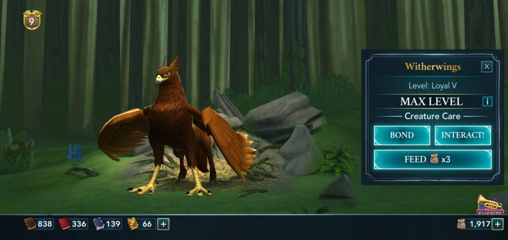 """Pictured is a hippogriff named Witherwings in """"Hogwarts Mystery""""."""