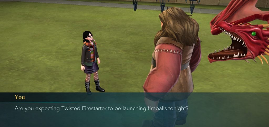 """Your character discusses a Chinese Fireball named Twisted Firestarter with Hagrid in """"Hogwarts Mystery""""."""