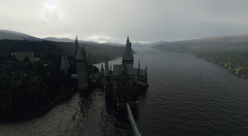 Hogwarts sits suspended in the Black Lake.