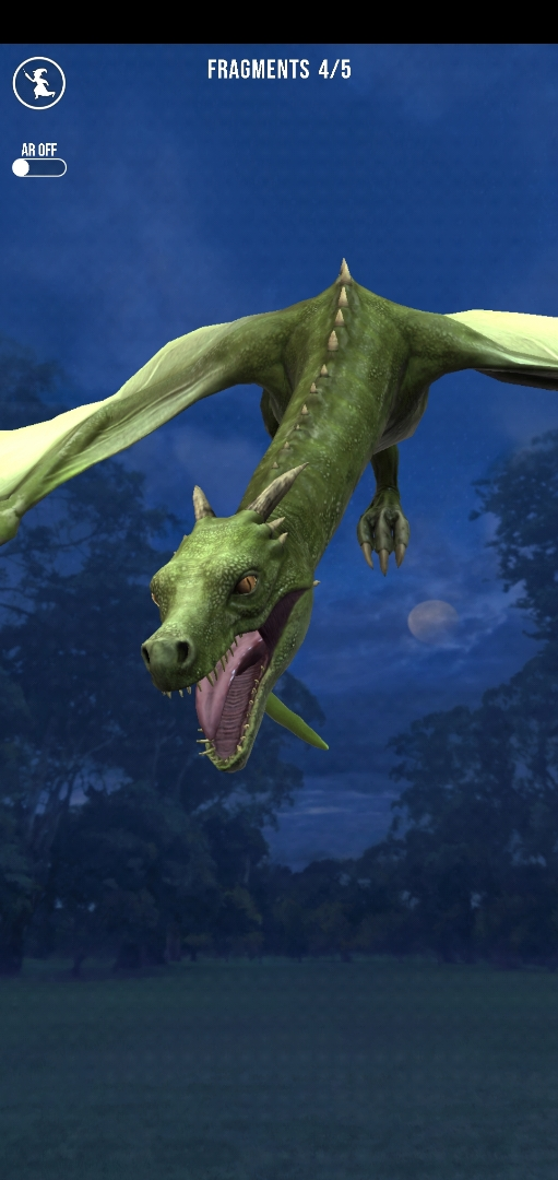 """Pictured is a Common Welsh Green during the Dragon Week event in """"Wizards Unite""""."""