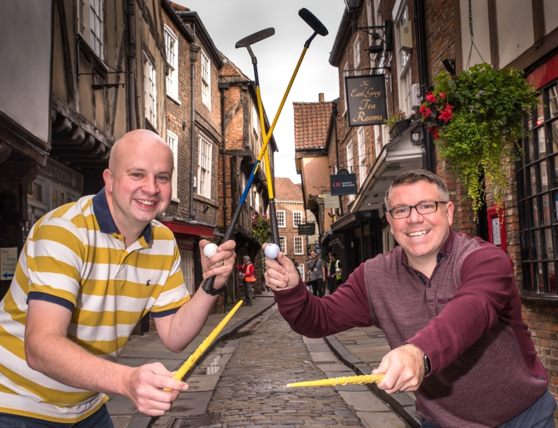 Wizards-in-chiefs Phil Pinder (L) and Ben Fry (R) launch their Crowdfunder campaign to bring a new family-fun experience to York. CREDIT: Frank Dwyer