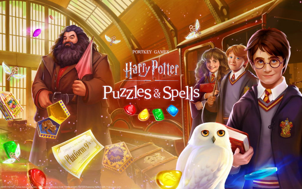 """Pictured is a graphic for Zynga's new match-three game, """"Harry Potter: Puzzles & Spells""""."""