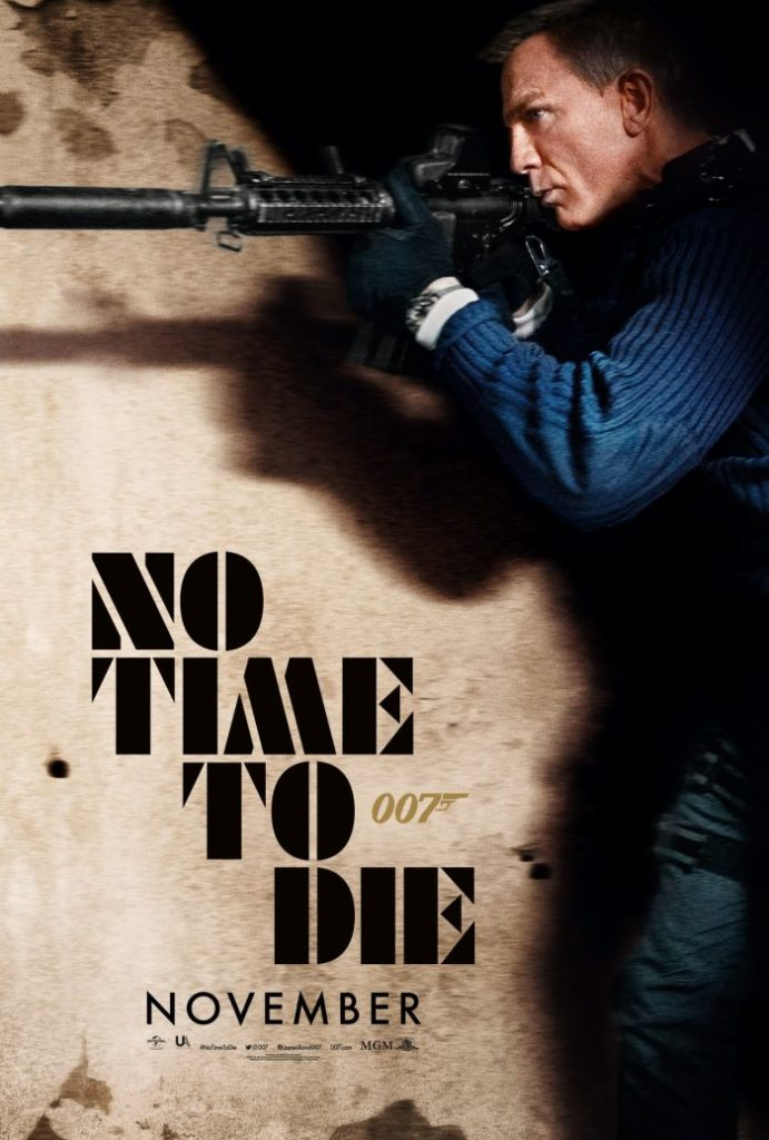 """Pictured is a new movie poster for """"No Time to Die""""."""