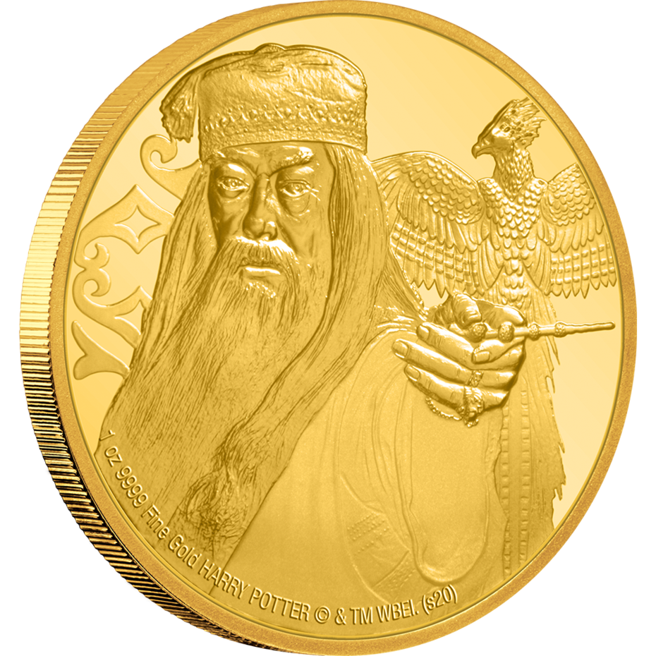 New Zealand Mint's Albus Dumbledore coin in gold shows an image of the Hogwarts headmaster with the Elder Wand and his phoenix, Fawkes, nearby.