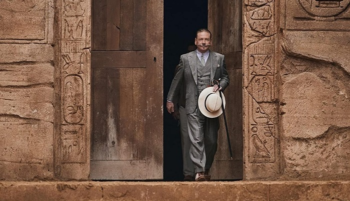 """Sir Kenneth Branagh is pictured as Hercule Poirot in a film still from """"Death on the Nile""""."""