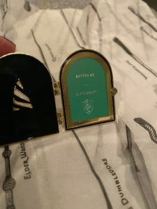 Sorting Hat locket pin with Slytherin insert