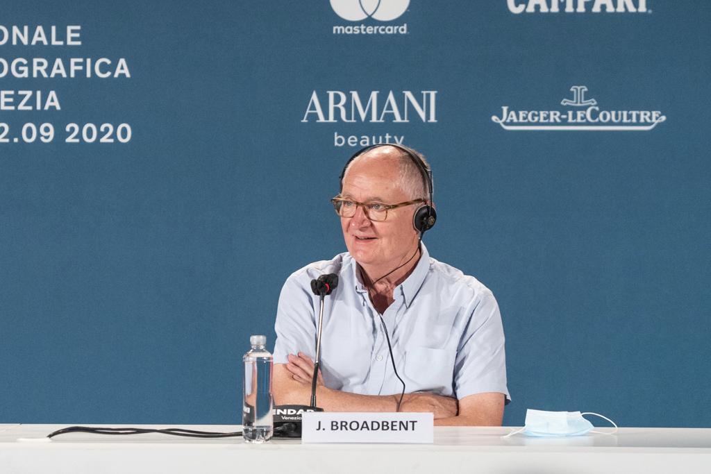 Jim Broadbent participates in a press conference at the Venice Film Festival.