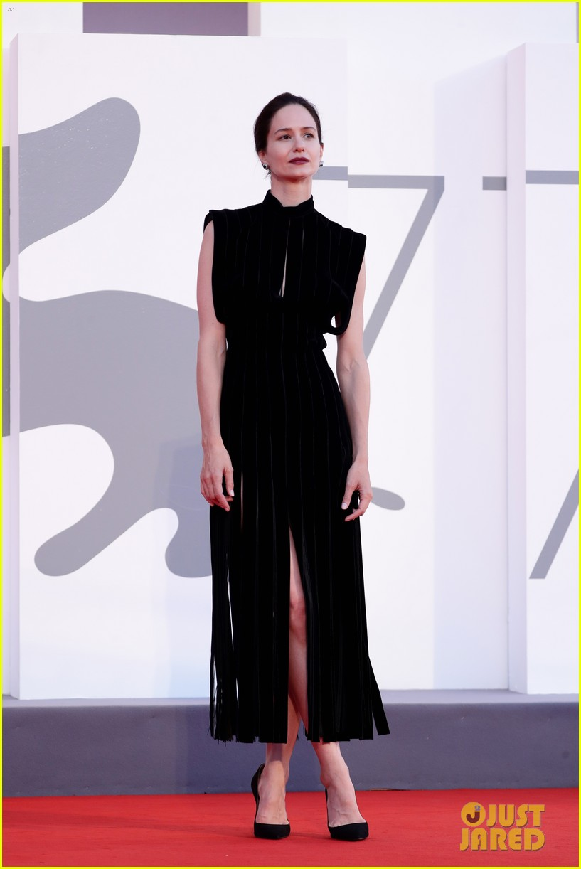 Katherine Waterston is glamorous on the red carpet at the Venice Film Festival.