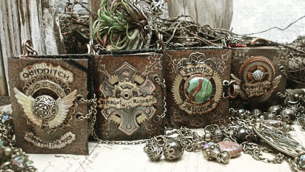 Metal book pendants are pictured with intricate cover designs fabricated out of clock parts. The book titles read Quidditch, Mischief Managed, and Expecto Patronum.