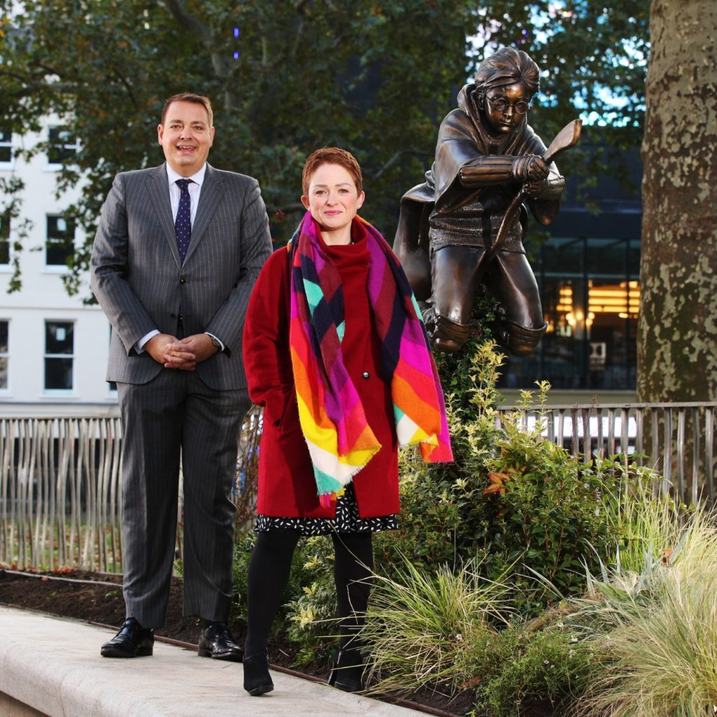Ros Morgan and Councillor Matthew Green by Harry Potter statue