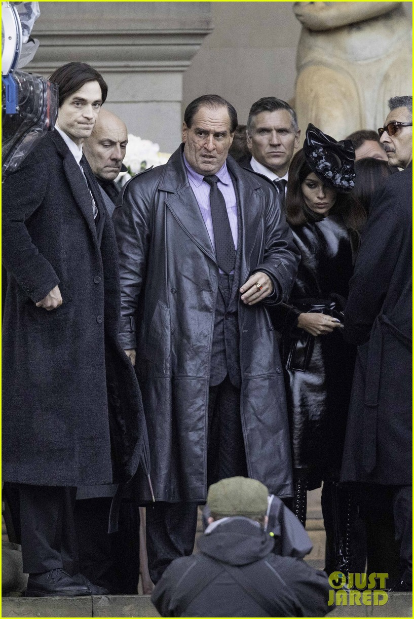 """Robert Pattinson, Colin Farrell, and Zoë Kravitz are photographed together during filming for """"The Batman""""."""