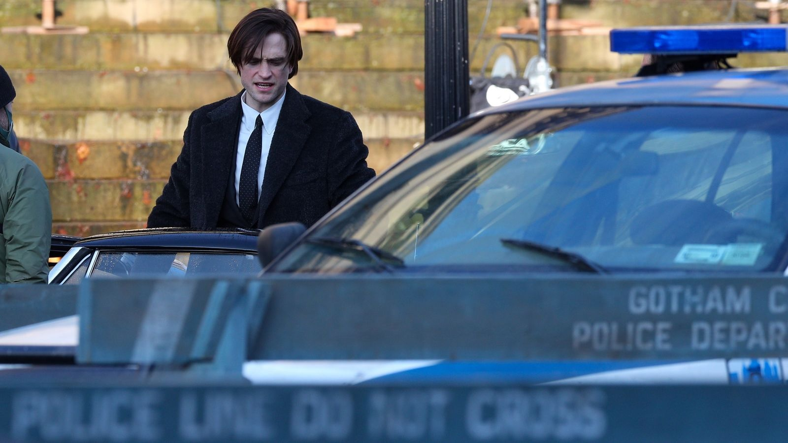 """Robert Pattinson is pictured as Bruce Wayne during filming for """"The Batman""""."""
