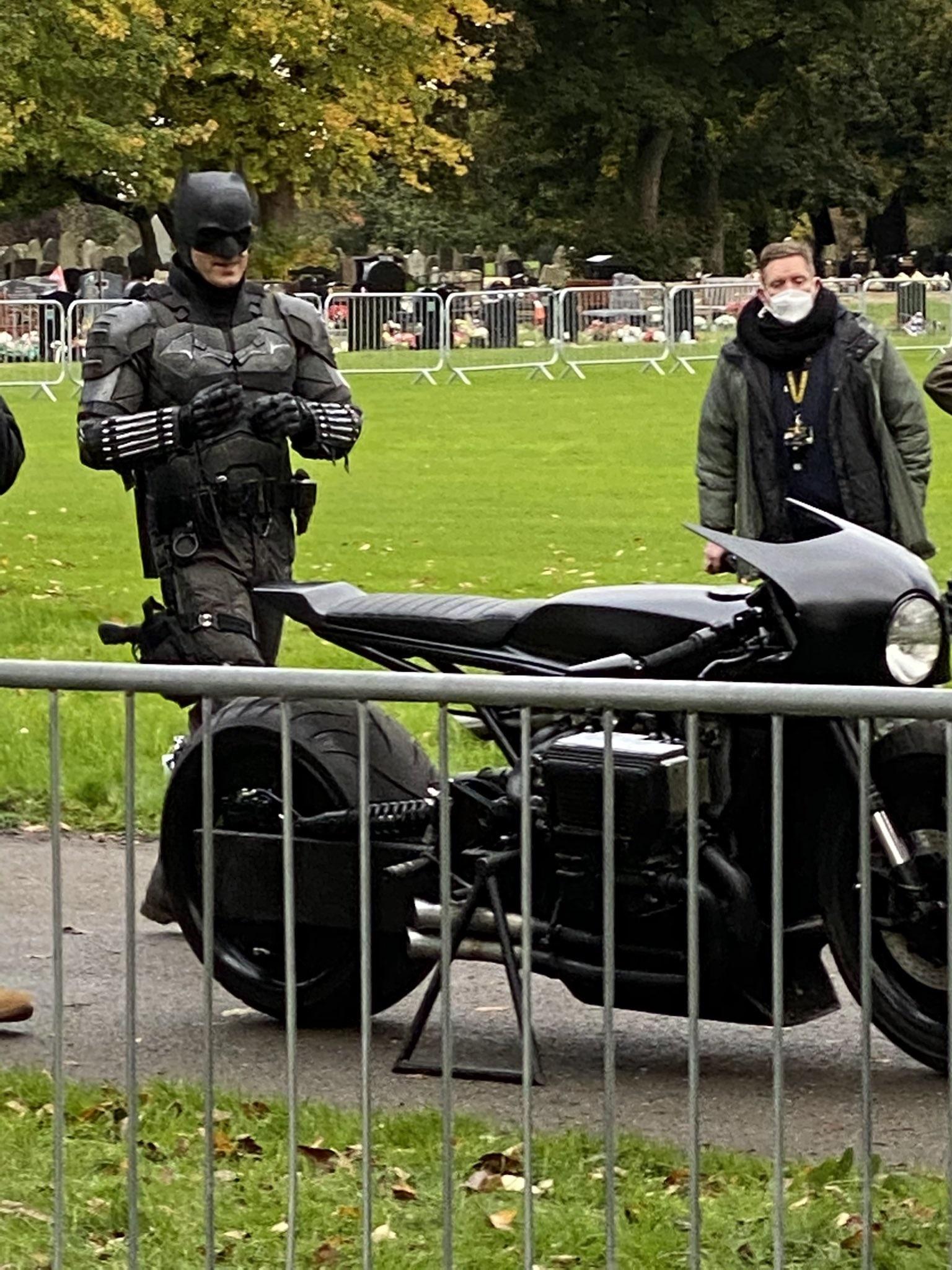 "Batman's bike is looking sharp during filming for ""The Batman""."