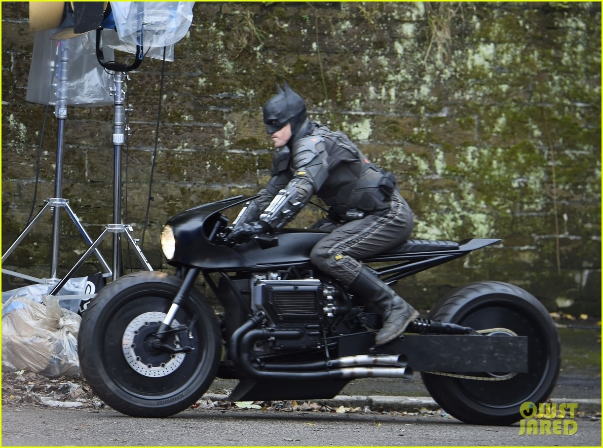 """Robert Pattinson's stunt double puts his bike through its paces during filming for """"The Batman""""."""