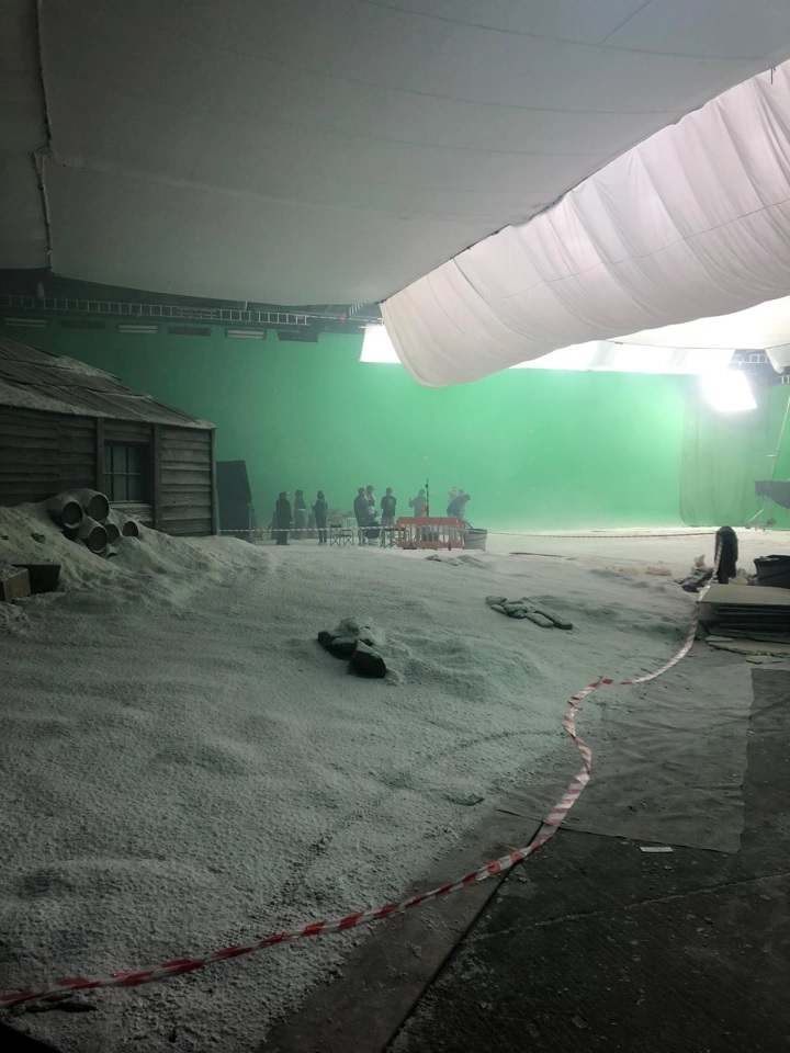 "A set at a studio in Hampshire, England, is covered in snow for the filming of Colin Farrell's ""The North Water""."