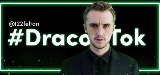 Tom Felton appears in a banner for the hashtag #DracoTok.