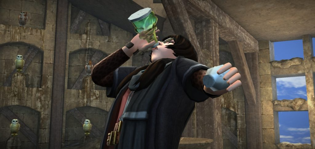 Your character guzzles down Polyjuice Potion in preparation for transforming into Patricia Rakepick.