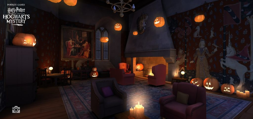 The Gryffindor common room looks cozier than usual with its Halloween decor.