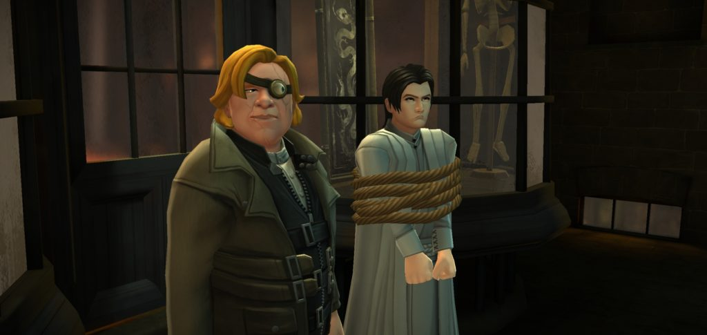 Mad-Eye Moody proudly displays the Mahoutokoro wizard he captured.