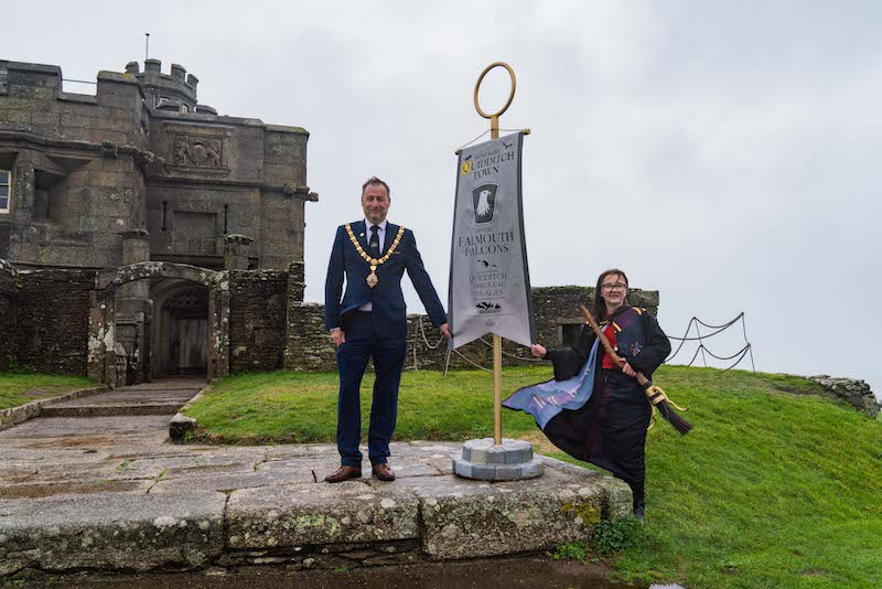 The Mayor of Falmouth, Councillor Steve Eva, accepts decorative banner in an official ceremony at Pendennis Castle.