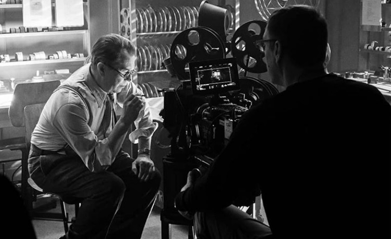 "Gary Oldman is pictured in a behind-the-scenes still from ""Mank""."