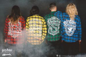 """Harry Potter"" Cakeworthy Hogwarts House Flannel Shirts."