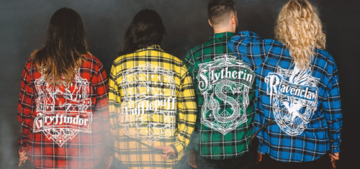 """Harry Potter"" Cakeworthy Hogwarts House Flannel Shirts."
