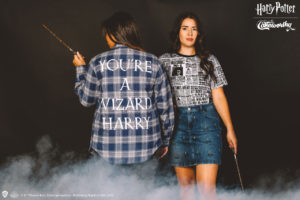 """""""Harry Potter"""" Cakeworthy """"You're a wizard Harry"""" blue and white flannel shirt and and """"Daily Prophet"""" T-shirt."""