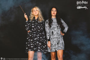 """Black and white """"Harry Potter"""" Cakeworthy dresses decorated with """"Daily Prophet"""" print and spells."""