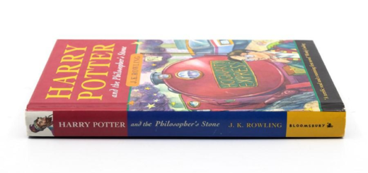"A hardback first edition of ""Harry Potter and the Philosopher's Stone"" being auctioned off by Hansons Auctioneers is shown as a featured image."