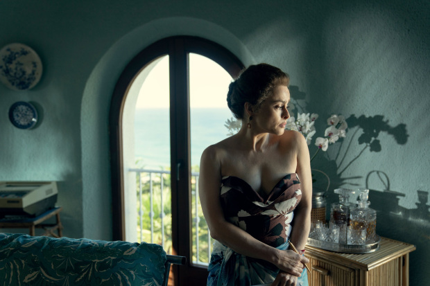 "Helena Bonham Carter looks troubled as Princess Margaret in ""The Crown""."