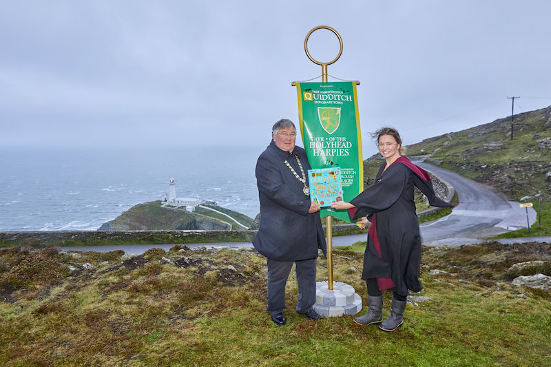 The Mayor of Holyhead, Councillor Alan Williams in an official ceremony at South Stack.