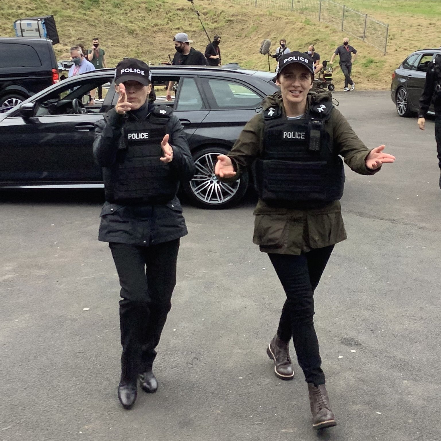 """Kelly Macdonald strikes a pose during filming for """"Line of Duty""""."""