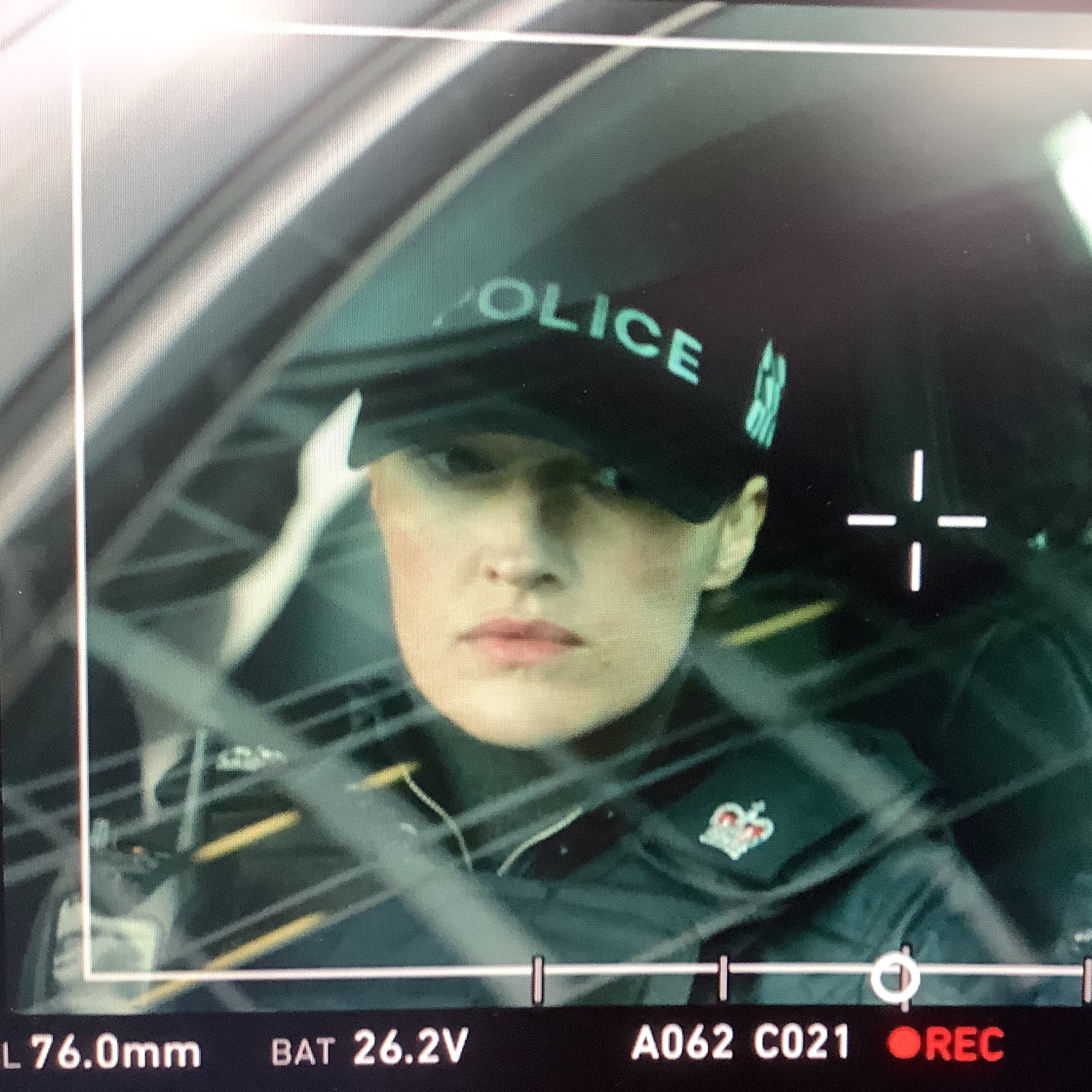 """Kelly Macdonald is shown on camera during filming for """"Line of Duty""""."""