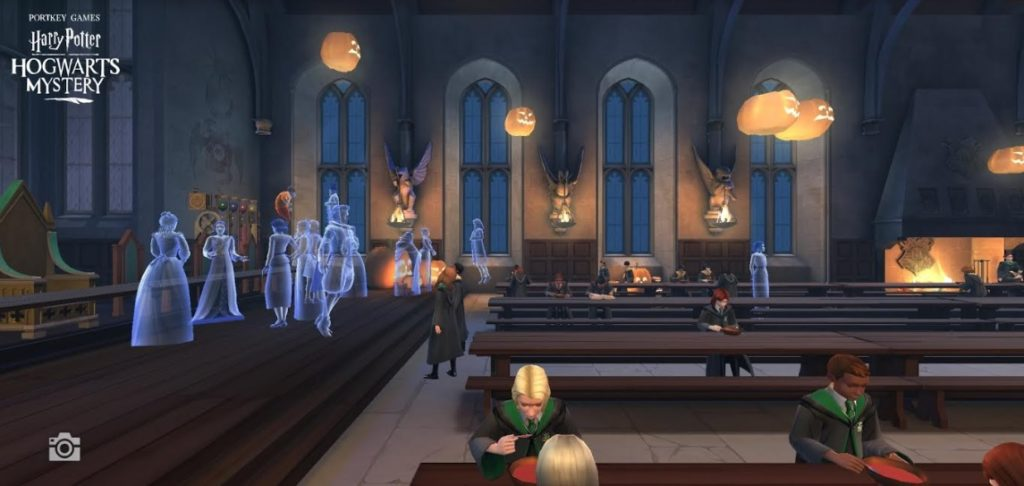 "Ghosts gather in the Great Hall in ""Hogwarts Mystery""."