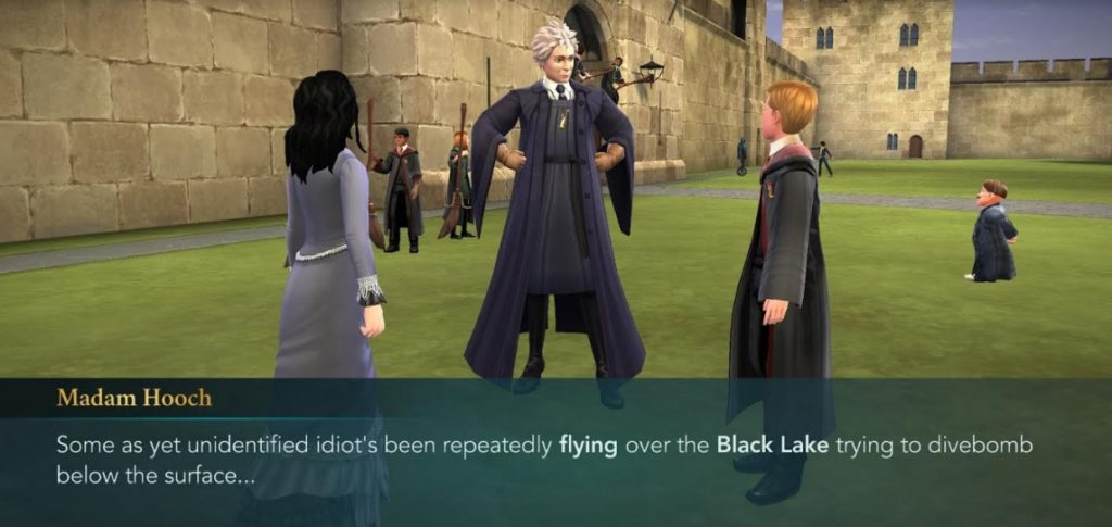 "Madam Hooch is on the lookout for idiots in ""Hogwarts Mystery""."