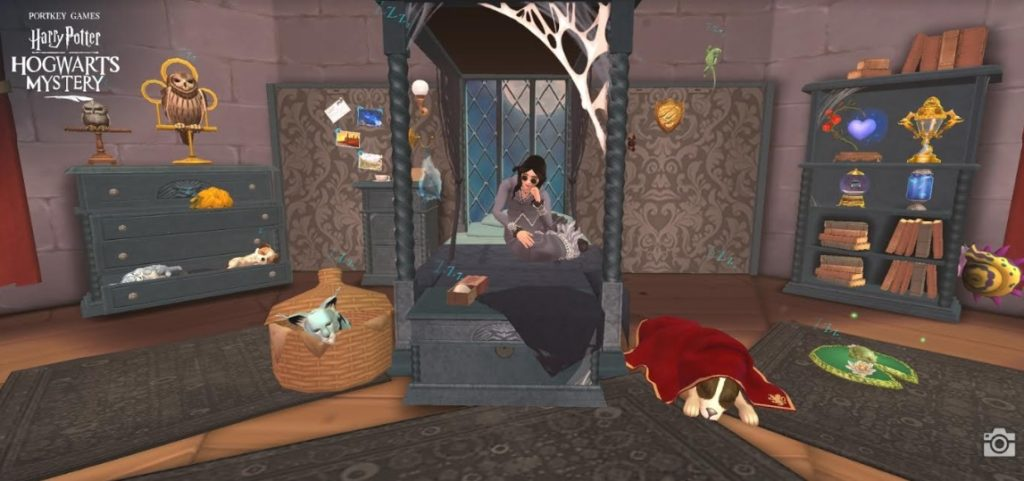 "Pictured is a ""Hogwarts Mystery"" dorm room featuring the new suite of Gothic furniture."