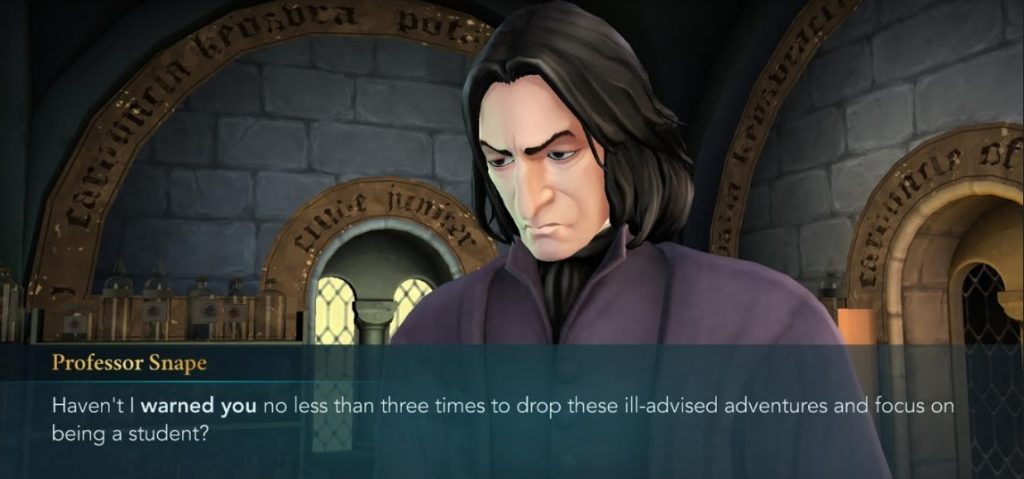 "Severus Snape suffers under the delusion that Hogwarts students can lead uneventful lives in ""Hogwarts Mystery""."