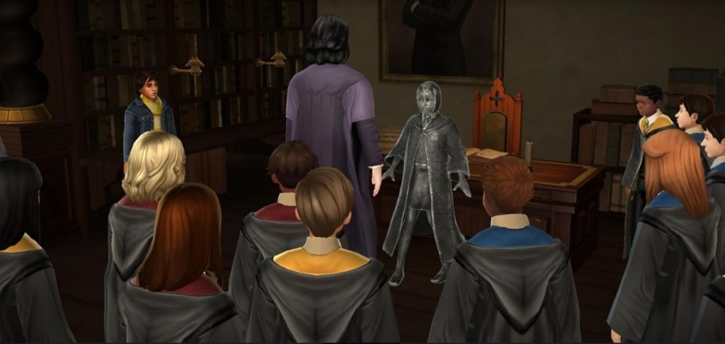 "Another student is struck by the Statue Curse in ""Hogwarts Mystery""."