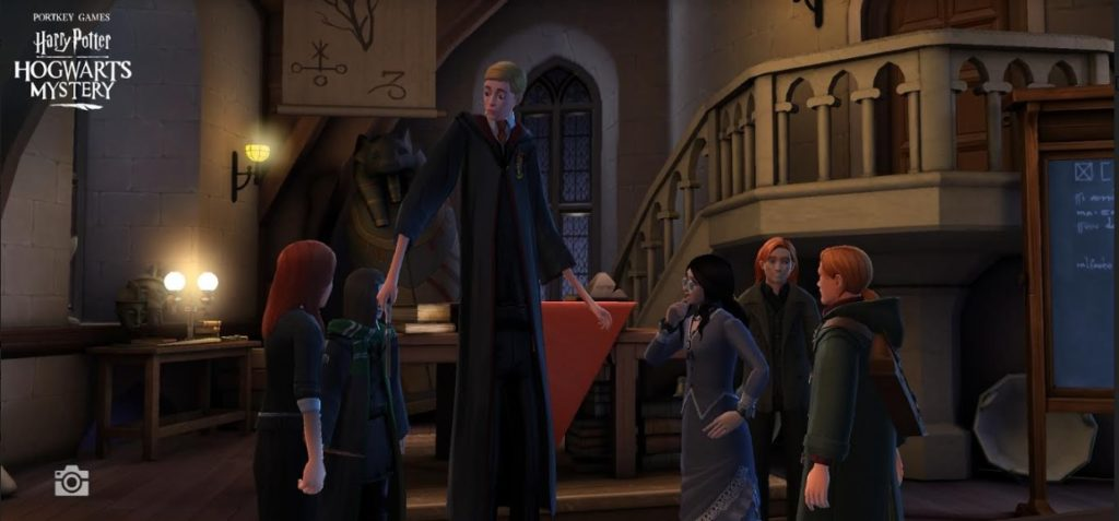 "Ben Copper falls victim to the Stretching Jinx in ""Hogwarts Mystery""."