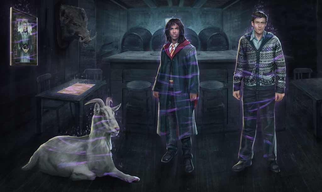 "A portrait of Ariana Dumbledore, a goat, Lee Jordan, and Neville Longbottom are pictured in a graphic for ""Wizards Unite""."