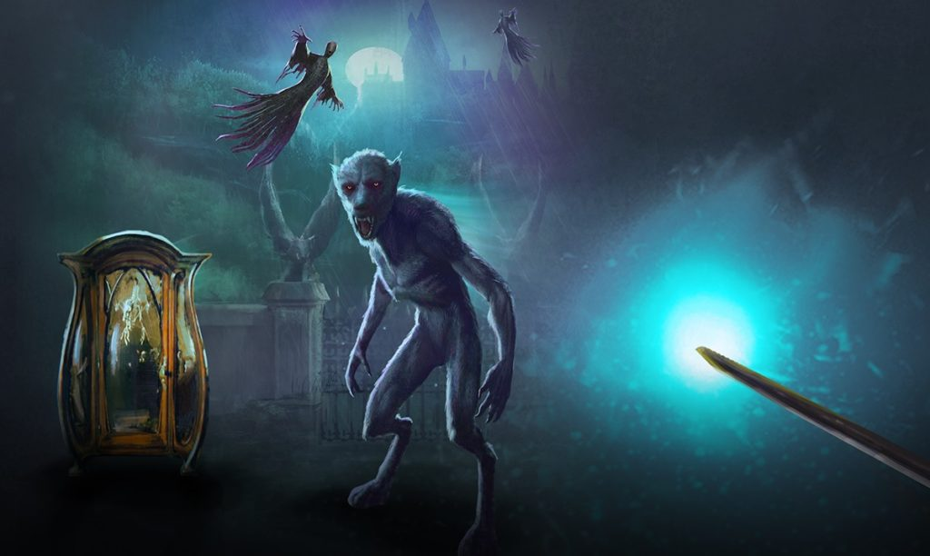 "A werewolf, Dementors, and a cabinet containing a Boggart are pictured in a graphic for ""Wizards Unite""."