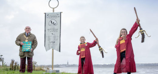 The Provost of Angus, Ronnie Proctor MBE accepts decorative banner in an official ceremony at Montrose Basin.