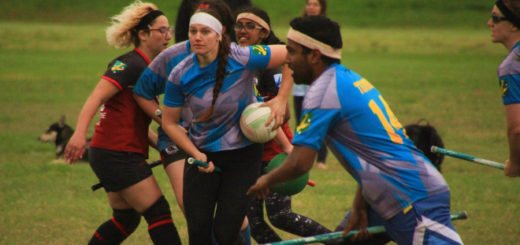 Muggle quidditch players of different ethnicities are shown in gameplay with a quaffle.