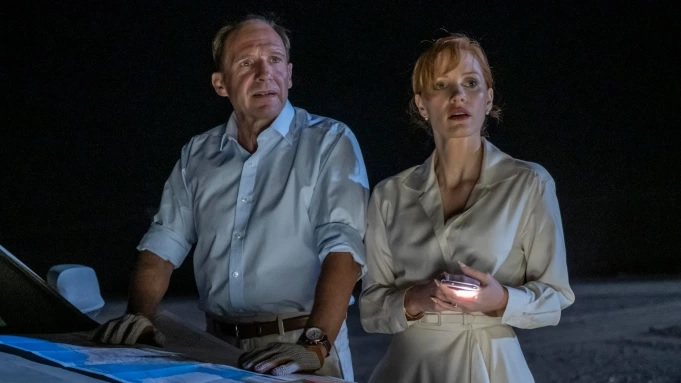 """Ralph Fiennes is pictured alongside Jessica Chastain in a still from """"The Forgiven""""."""